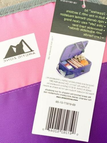 Arctic Zone Insulated Purple/Pink Lunch With Divider
