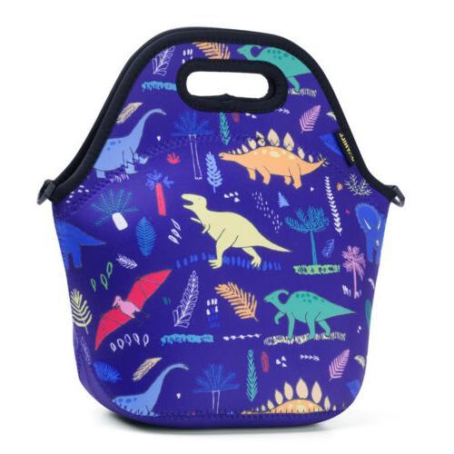 Cute Neoprene Lunch bags for Women Kids Dinosaur Lunch Bag L