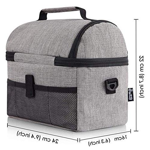 PuTwo Insulated Box Lunch Bags for Women Lunch Men YKK Shoulder Strap for Bento Lunch Pail Grey