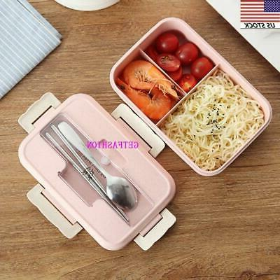 Lunch Box 3 Grid Leakproof Portable Bento Microwave Safe Foo