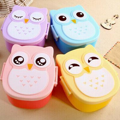 US Cute Cartoon Owl Lunch Box Food Container Storage Portabl