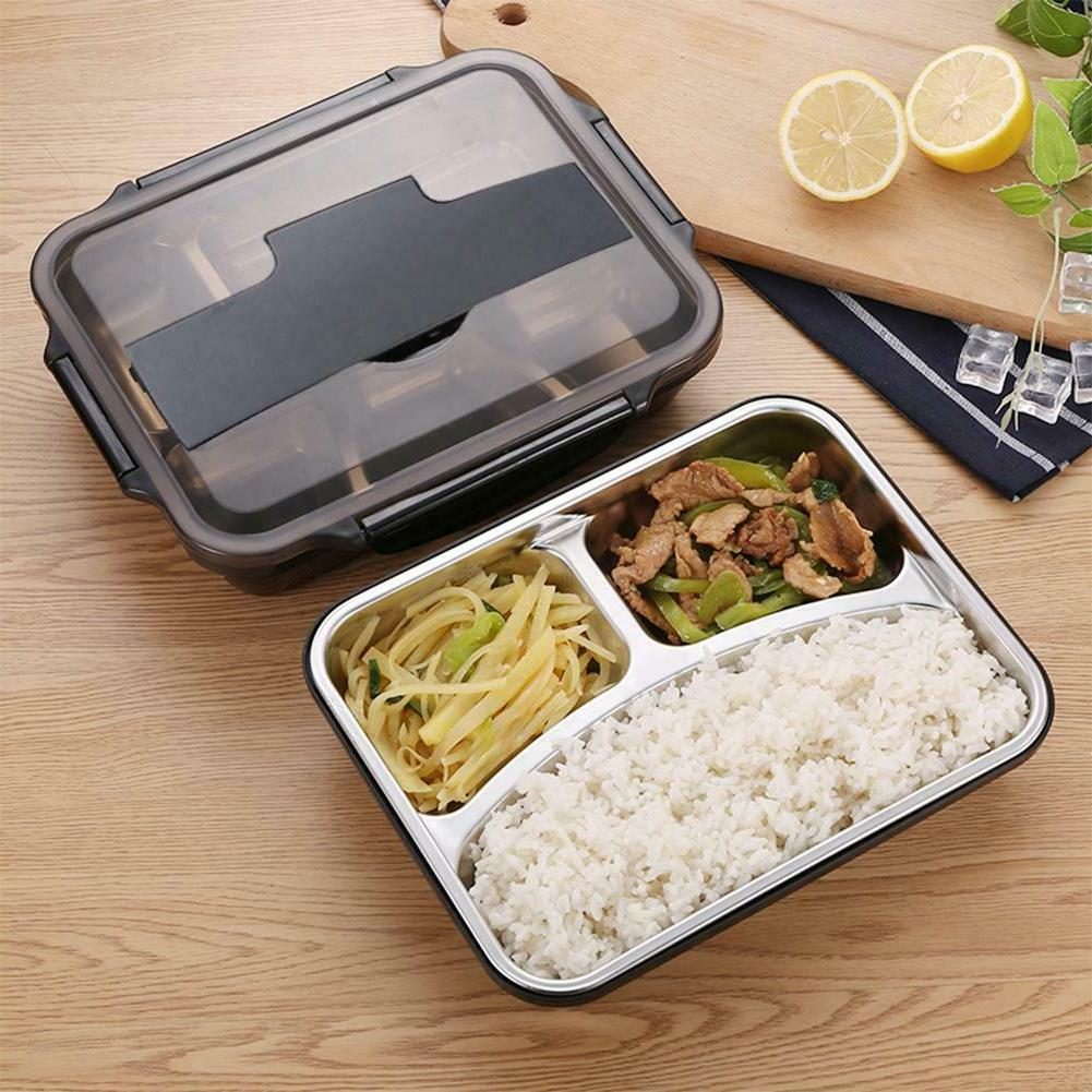 Portable Stainless Steel Bento Lunch Box Container Leak-Proo
