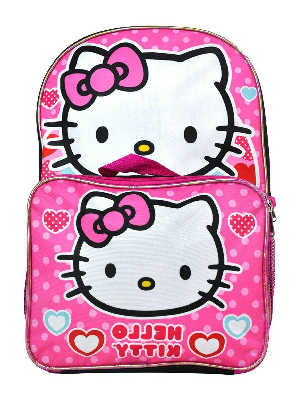 Hello Kitty School Backpack Lunch Box Set Little Girls Cute Sanrio