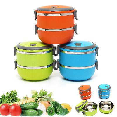 2 Layers Stainless Steel Thermal Insulated Lunch Box Bento F