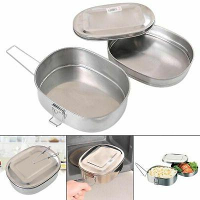 US 2 Layers Rectangle Stainless Steel Bento Lunch Box Food C