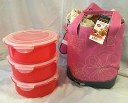 Lock And Lock Bento Round Lunch Box Set With Three Container