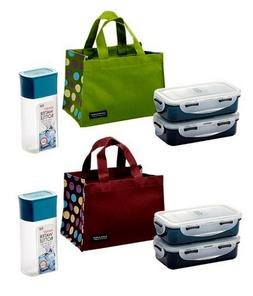 Lock & Lock Dot Lunch Box Sets Bag and Blue Water Bottle Gre