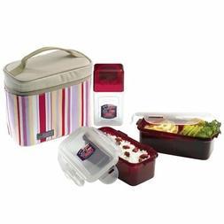 LockandLock Rectangular BPA Free 3Piece Lunch Box Set with I