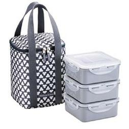 LOCK & LOCK Square Lunch Box 3-Piece Set with Insulated Stri