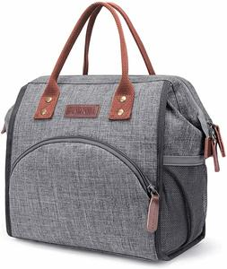 LOKASS Lunch Bag Insulated Lunch Box Wide-Open Lunch Tote Ba
