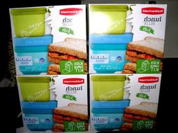 Rubbermaid Lunch Blox 4 Pk Box Snack Food Storage Blue Ice P