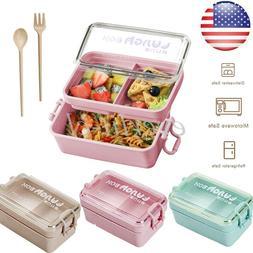 Lunch Box 2 Layer Wheat Straw Bento Box Food Storage Contain