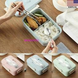 Leakproof Bento Lunch Box 3 Grids with Utensils Meal Prep Fo