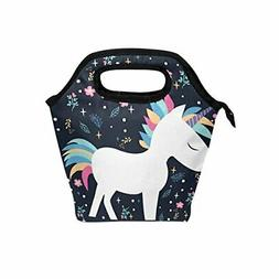 JOYPRINT Lunch Box Bag, Cute Animal Unicorn Floral Pattern I