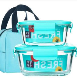 Lunch Box Food Storage Container Microwave Storage Glasses R