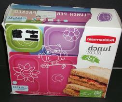 Rubbermaid Lunch Box Food Storage Kids 4 pc Set Pink Purple