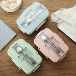Microwave Wheat Straw Bento Lunch Box Spoon Food Storage Con