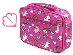 Keeli Kid's Lunch Box Pink Unicorn with Pink Sandwich Cutter
