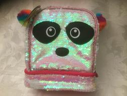Lunchbox Bag Sequins Panda School Dual Compartments White Gi