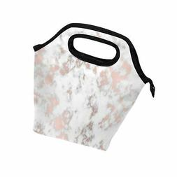 ALAZA Marble Rose Gold Texture Lunch Box Tote Handbag Lunch
