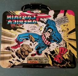 @ Marvel Captain America  Tin Lunch Box Tote New @