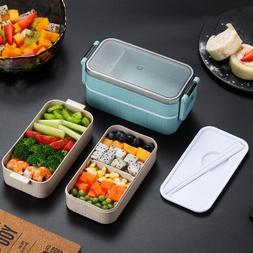 Microwave Bento Wheat Straw Lunch Box Leak-Proof Picnic Food