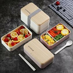 Microwave Lunch Box Japanese Wood Bento Box Portable 2 Layer