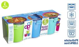 Sistema Microwave Soup Mugs 656ml Assorted Colours BPA Free