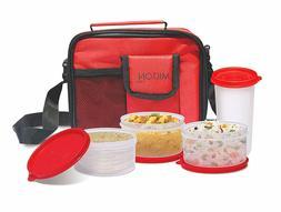 Milton Meal Stylish Combi Plastic Lunch Box Set, Grey