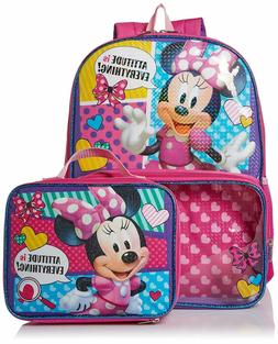 "Disney Minnie Mouse 16"" School Book Bag Backpack and Lunch B"