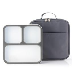 Modetro Ultra Slim Leak Proof Bento Lunchbox with 3 Portion