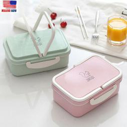 NEW Eco-friendly Wheat Straw Microwave Bento Lunch Box Food