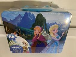 New Disney Frozen 48 Piece Puzzle Collectible Tin Lunch Box