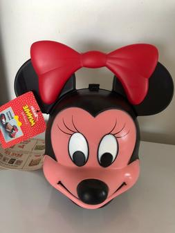 New Vintage Minnie Mouse Head Plastic Lunch Box with Thermos