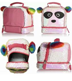 NWT Magic Sequin 2 Way Panda Critter with Rainbow Pom Lunch