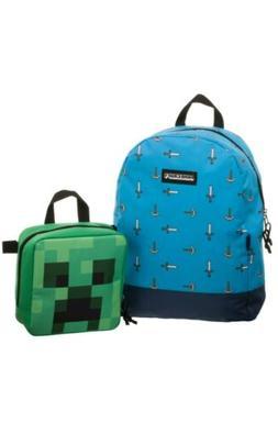 Minecraft Pickax & Sword Backpack & Creeper Head Lunch Box S