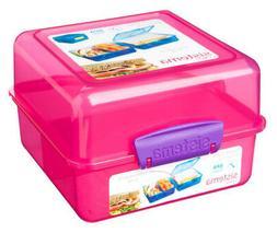 Sistema Pink 3 Compartment Klip It 1.4L Lunch Cube Box Conta