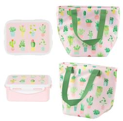 pink lunch bag cactus tote box food