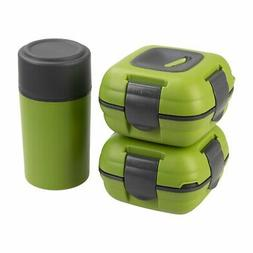 Paloma Set of 2 Plastic Insulated Lunch Boxes Bottle Bag Gre