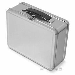 Plain Metal Snack Box / Silver Small Lunchbox Retro Lunch Bo