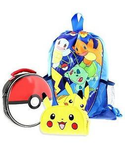 Pokemon Kids 3 Piece Lunch Box Drawstring Backpack Accessory