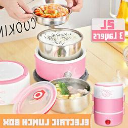 Portable 2L 3-Layers Electric Lunch Box Rice Cooker Food Ste