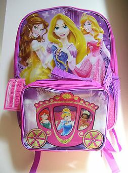 "Disney Princesses Deluxe 16"" Purple Pink 2 Pc School Back Pa"