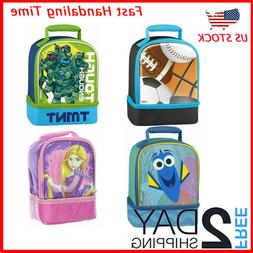School Lunch box Bag Pack Set Large Dual Compartment Kit Kid