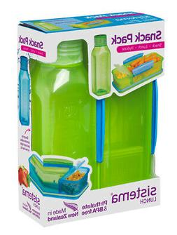 Sistema Snack Pack, Lunch Box and Water Bottle Set, Green Ba
