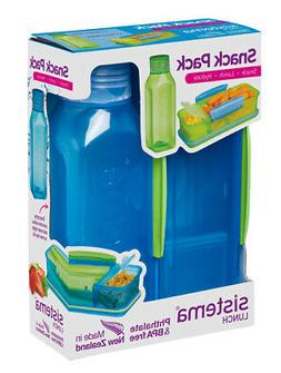 Sistema Snack Pack, Lunch Box and Water Bottle Set, Blue Bac