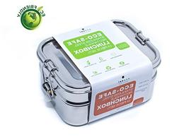 Ecozoi Stainless Steel 3-in-1 Rectangle LEAK PROOF Lunch Box