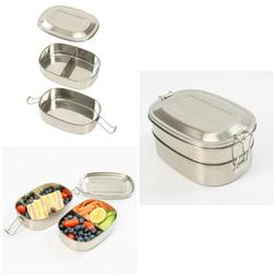 Stainless Steel Lunch Box For Kids 3 Compartment Metal Bento