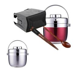 Stainless Steel Lunchbox With Spoon For Kids Double Layer Fo