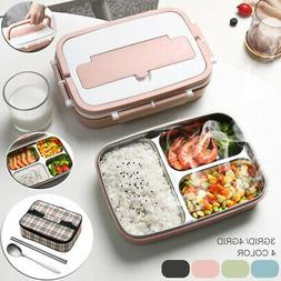 Stainless Steel Thermos Lunch Box Bento Food Container Handl